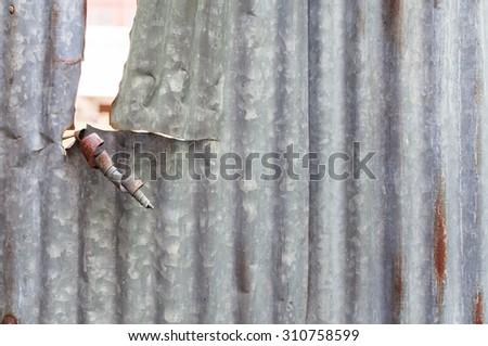 zinc worn out  background - stock photo