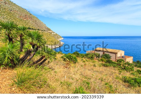 Zingaro Natinal Park - a view with a typical sicilian house, Sicily, Italy - stock photo