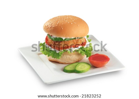 Zinger Chicken Burger - stock photo