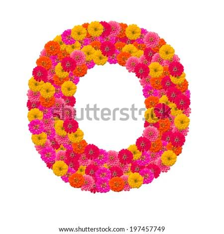 Zinnias flower letter - stock photo