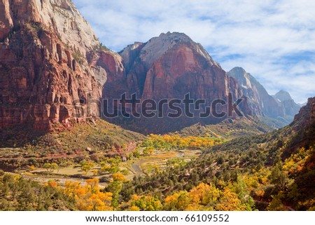 Zion Canyon valley in full autumn glory. - stock photo