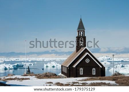 Zion Church, Ilulissat, Greenland. - stock photo