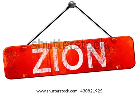 zion, 3D rendering, a red hanging sign