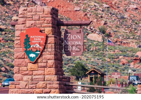 Zion Entrance Sign. Zion National Park, Utah, USA. - stock photo