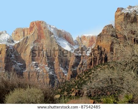 Zion in Winter, Altar of Sacrifice - stock photo
