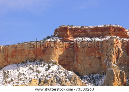 Zion National Park - Altar of Sacrifice Mountain (Utah, USA) - stock photo