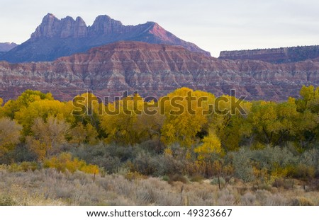 Zion National Park  autumn at twilight