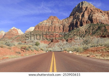 Zion National Park - Geological wonder of Mountains, rivers and Sandstone was ancient home of the Anasazi people and rich in Native American culture. - stock photo