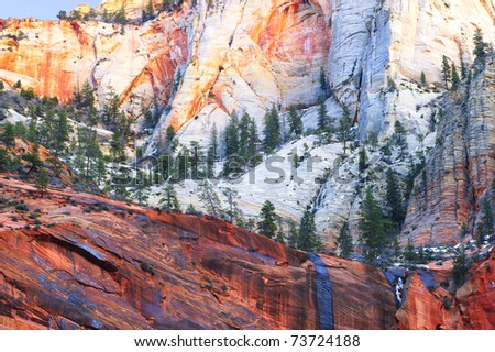 Zion National Park in winter (Utah, Usa) - stock photo
