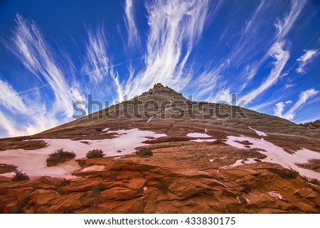 Zion National Park mountain and clouds - stock photo