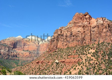 Zion National Park scenic in horizontal format with blue sky. - stock photo