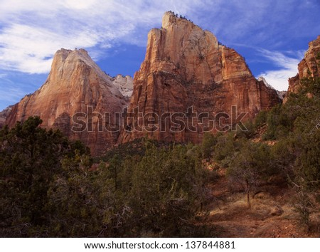 Zion National Park, Utah reveals rocks formed by sand dunes and sea bottoms./Zion/Zion National Park, this place of desert and rock formations, was created by water, the Virgin River.