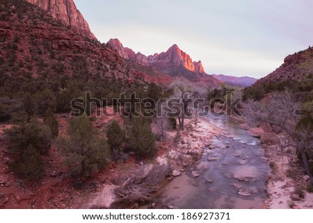 Zion National Park Virgin River Sunset. Springdale, Utah, United States. - stock photo