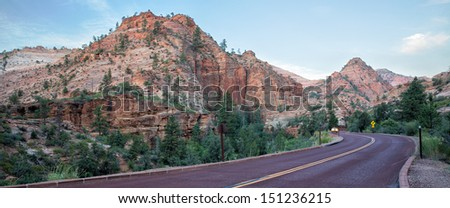 Zion Park Scenic Byway,  it runs through Zion National Park and another 12 miles to Mount Carmel Junction, in Utah, USA in America