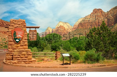 Zion Welcome Sign.  Zion National Park, Utah USA.  Tourism Photos. - stock photo