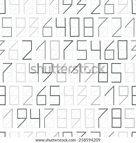 Zip code numbers seamless pattern in gray colors - stock photo