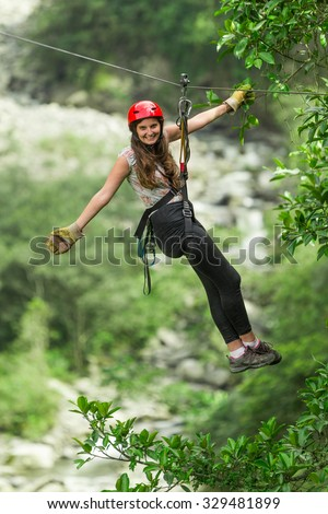 Zip Line Experience In Ecuadorian Andes - stock photo