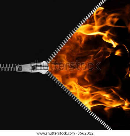 Zip to the open fire - stock photo