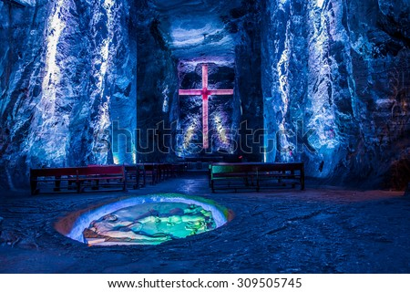 ZIPAQUIRA, COLOMBIA - FEBRUARY 3, 2015: Marble and salt sculptures at underground Salt Cathedral Zipaquira built within the multicolored tunnels from a mine. One impresive accomplishment of Colombian - stock photo