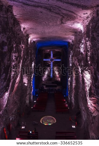 ZIPAQUIRA, COLOMBIA - OCTOBER 22, 2015: Lila color lighting on a sculpture at underground Salt Cathedral Zipaquira built within the multicolored tunnels from a mine.