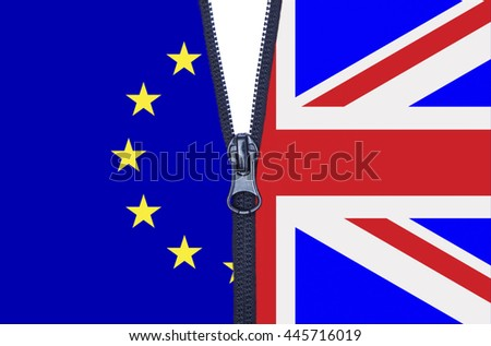 Zipped European Union and United Kingdom flags brexit split