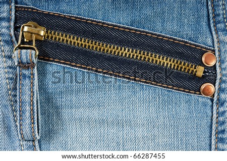 Zipped pocket of jeans - stock photo