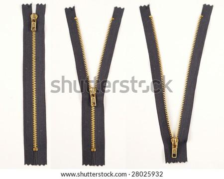 Zipper. Closed, Half Open, Open - stock photo