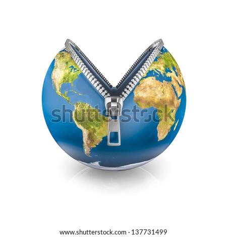 Zipper Earth,  - stock photo