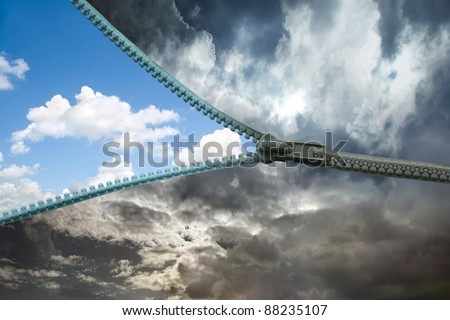 zipper for the sky - stock photo