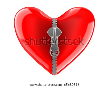 Zipper in heart. Isolated 3D image on white - stock photo