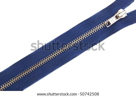 zipper isolated on white background - stock photo