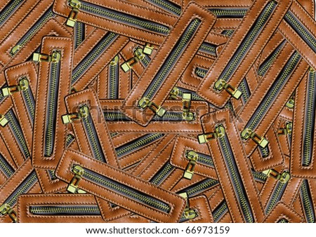 Zipper leather Useful as background for design-works. - stock photo