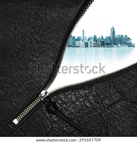 Zipper open concept dream city with modern building on a white background. - stock photo