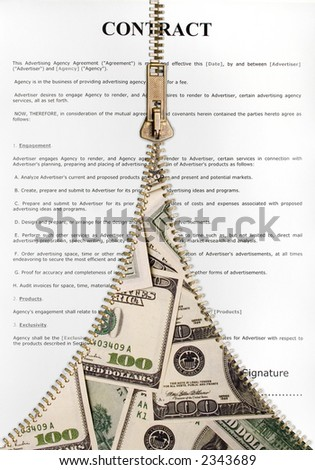 Zipper revealing money in the contract - stock photo
