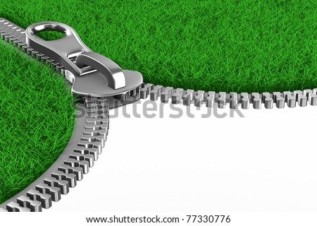 Zipper with grass on white background. Isolated 3D image - stock photo
