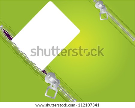 Zippers in green - stock photo