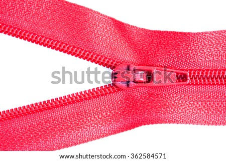 zippers isolated on white - stock photo