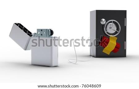 Zippo lighter, safe and dynamite on white background - stock photo