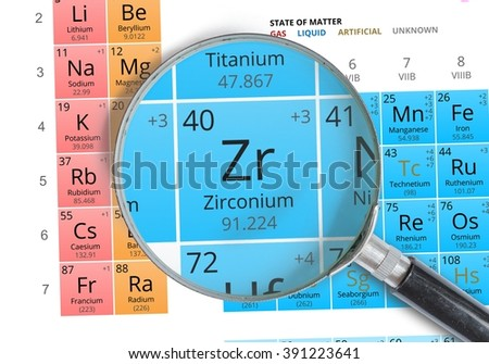 Zirconium symbol zr element periodic table stock photo 391223641 zirconium symbol zr element of the periodic table zoomed with magnifying glass urtaz Gallery