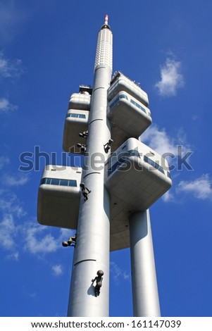 Zizkov Television Tower in Prague - stock photo