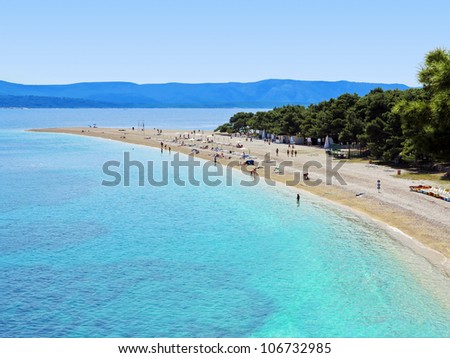 Zlatni Rat (Golden Cape) is a popular beach in the Town Bol which is on the south of the island of Brac in the Split-Dalmatia County of Croatia - stock photo