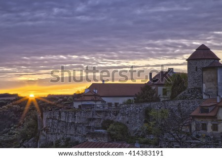 Znojmo - river Dyje (Thaya) and Rotunda of Saint Catherine during sunset, Czech Republic - stock photo