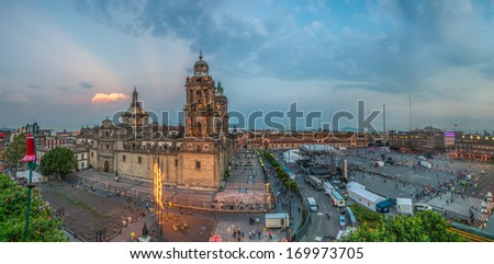 Zocalo square and Metropolitan cathedral of Mexico city  - stock photo