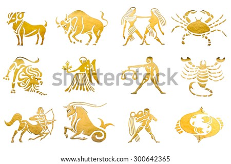 Zodiac and star signs horoscopes isolated on white - stock photo
