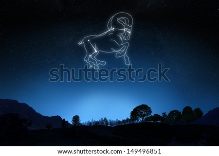 Zodiac Aries with a star and symbol outline on a gradient sky background. Part of a Zodiac series. - stock photo