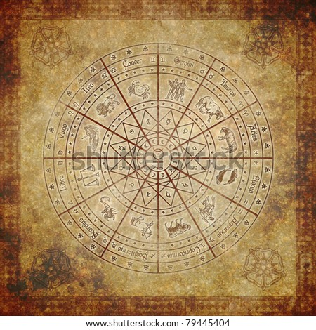 Zodiac circle on very old paper. - stock photo