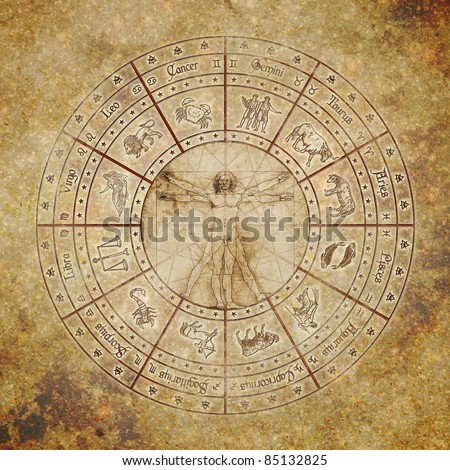 Zodiac circle with vitruvian man in the center on grunge background. - stock photo
