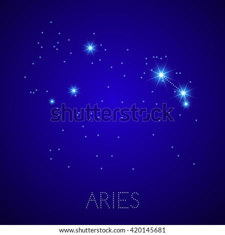 Zodiac Constellation Aries. Realistic star map fragment. Illustration