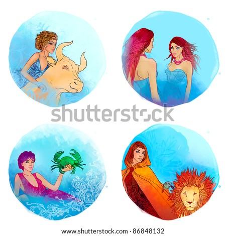 Zodiac girls set: Taurus, Gemini, Cancer, Leo - stock photo