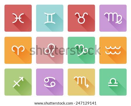 Zodiac horoscope astrology sign flat shadow style icons - stock photo